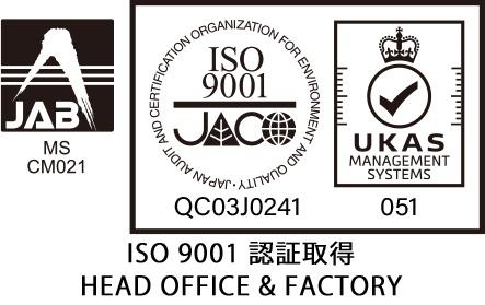 JAB CM021 / ISO9001 QC03J0241 UKAS