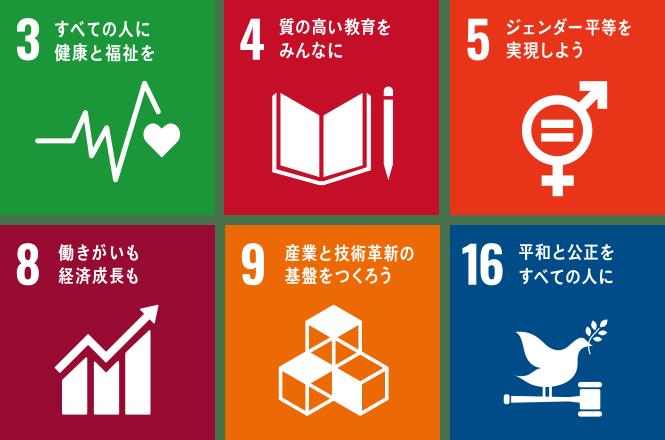3.すべての人に健康と福祉を 4.質の高い教育をみんなに 5.ジェンダー平等を実現しよう 8.働きがいも経済成長も 9.産業と技術革新の基盤を作ろう 16.平和と公正を全ての人に